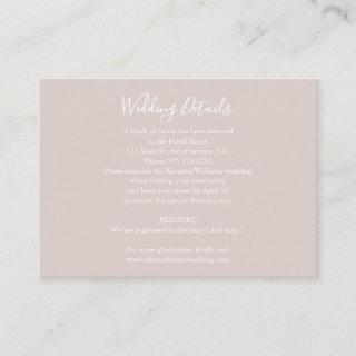 Minimalist Wedding Details with Photo Champagne Enclosure Card