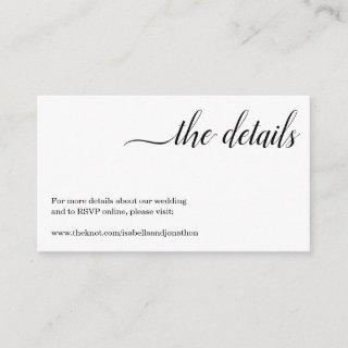 Minimalist Wedding Website Enclosure Card