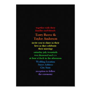 Minimalistic Rainbow-Colored Font Wedding Invitations