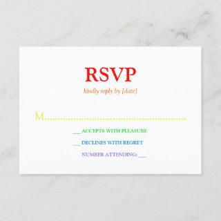 Minimalistic Rainbow-Colored Font Wedding RSVP
