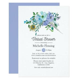 Mint and Blue Boho Virtual Bridal or Baby Shower Invitations