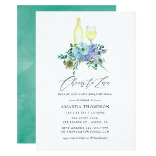 Mint and Blue Boho Wine Tasting Bridal Shower Invitations