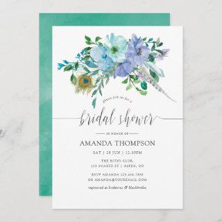Mint and Blue Watercolor Boho Floral Bridal Shower Invitations