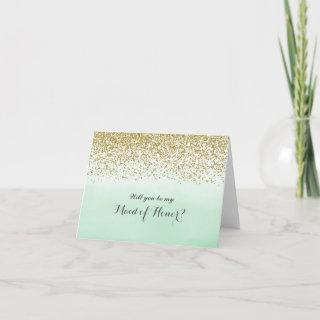 Mint and Gold Will You Be My Maid of Honor Card