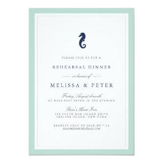 Mint and Navy Seahorse Rehearsal Dinner Invitations