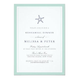 Mint and Navy Starfish Rehearsal Dinner Invitations