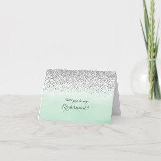 Mint and Silver Will You Be My Bridesmaid Card