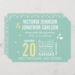 Mint and Yellow Modern Typography Wedding Invitations
