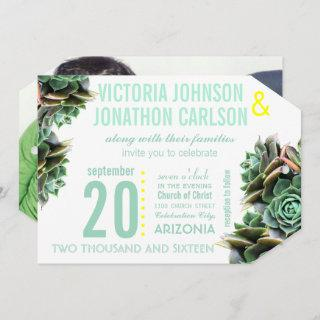 Mint and Yellow Succulent Modern Wedding Invitations