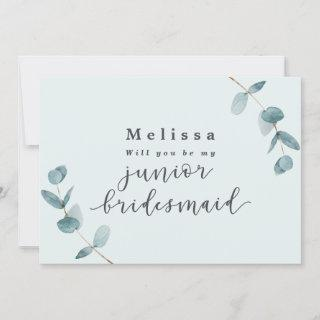 Mint Eucalyptus Junior Bridesmaid Proposal Card