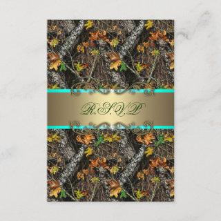 Mint Formal Camo Wedding RSVP Cards
