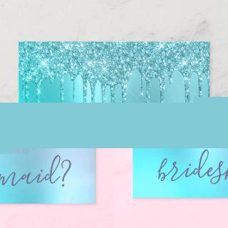 Mint glitter drips will you be my bridesmaid invitation postcard