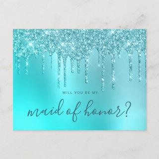 Mint glitter drips will you be my maid of honor invitation postcard
