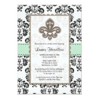 Mint Green Fleur de Lis Bridal Shower Invitations
