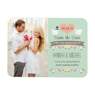 Mint Green Love Birds Dove Save the Date Magnet