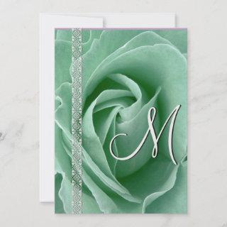 MINT GREEN Rose & Lace Wedding Invitations