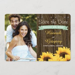 MINT GREEN RUSTIC SUNFLOWER SAVE THE DATE CARD