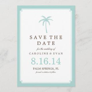 Mint Palm Tree Wedding Save the Date