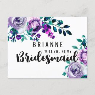 Mint & Purple Floral Will You Be My Bridesmaid Invitation
