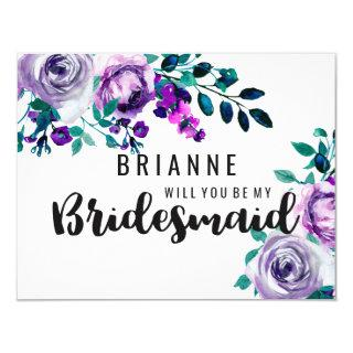 Mint & Purple Floral Will You Be My Bridesmaid Invitations