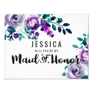 Mint & Purple Floral Will You Be My Maid of Honor Invitations