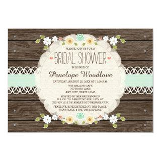 MINT RUSTIC FLORAL BOHO BRIDAL SHOWER INVITATIONS