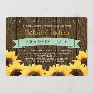 MINT RUSTIC SUNFLOWER ENGAGEMENT PARTY INVITATION