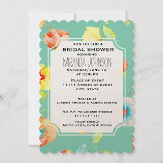 Mint Watercolor Poppies Bridal Shower Invitations