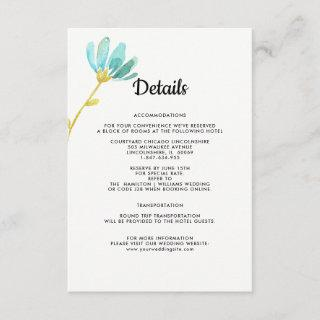 Mint | White | Yellow Floral Wedding Details Cards