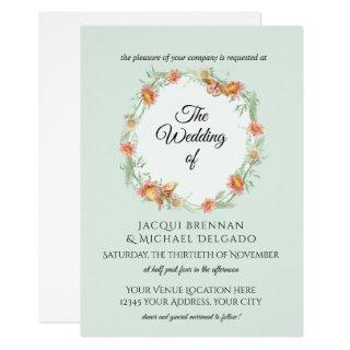 Mint Willow Coral Butterfly Floral Wreath Wedding Invitation