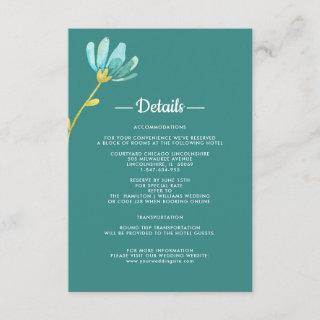 Mint | Yellow Floral Wedding Details Cards