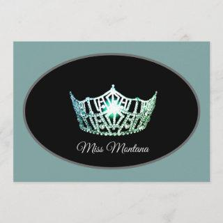 Miss America Flat Note Card-Silver Crown Aqua Mist
