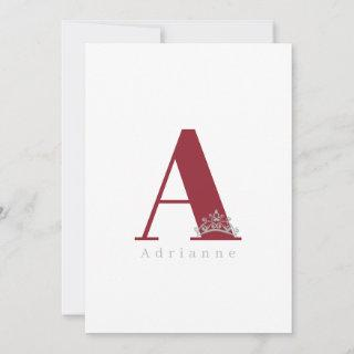 Miss Pageant Bridal Crown Flat Note Card-Cranberry