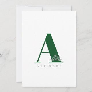 Miss Pageant Bridal Crown Flat Note Card-Emerald