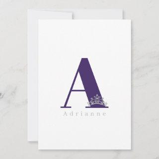 Miss Pageant Bridal Crown Flat Note Card-Purple