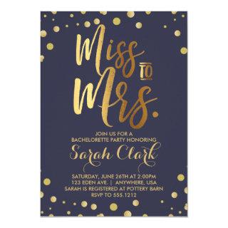 Miss to Mrs. Bachelorette Party Invitations