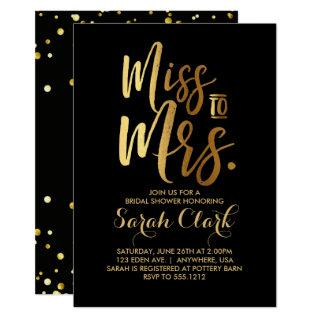 Miss to Mrs. Bridal Shower Invitation