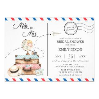 Miss to Mrs Bridal Shower Travel Voyage Postage Invitation