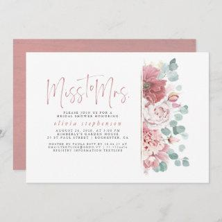 Miss to Mrs Dusty Pink Floral Bridal Shower Invitation