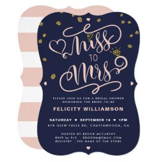 Miss To Mrs Pink Gold & Navy Stripe Bridal Shower Invitations