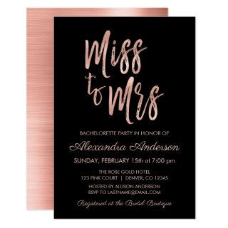 Miss to Mrs Pink Rose Gold Bachelorette Party Invitations