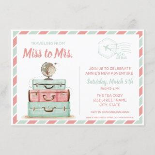 Miss to Mrs travel bridal shower coral mint