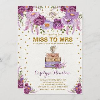 Miss to Mrs Travel Suitcase Purple Bridal Shower