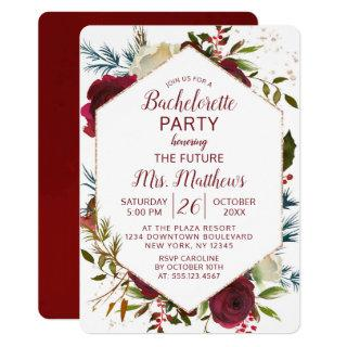 Mistletoe Manor Hexagon Frame Bachelorette Party Invitations