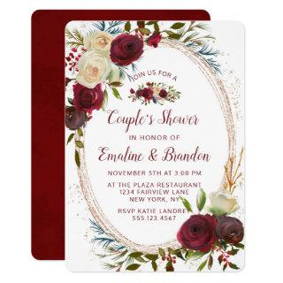 Mistletoe Manor Oval Frame Couple's Wedding Shower Invitations
