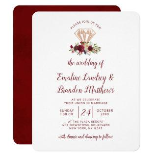 Mistletoe Manor Rose Gold Diamond Bouquet Wedding Invitation