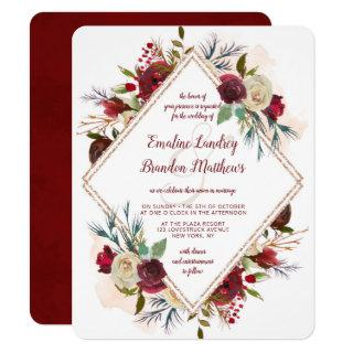 Mistletoe Manor Rose Gold Double Diamond Wedding Invitations