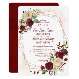 Mistletoe Manor Rose Gold Geometric Wedding Invitations