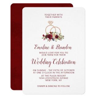 Mistletoe Manor Rose Gold Sparkle Rings Wedding Invitations
