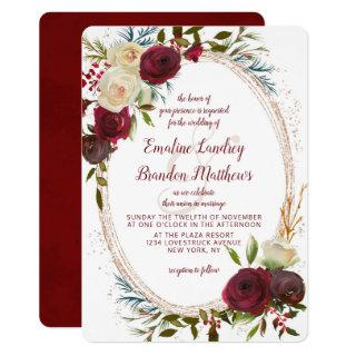 Mistletoe Manor Watercolor Elegant Oval Wedding Invitations